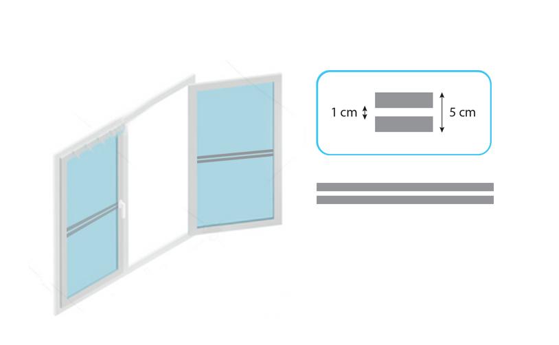 Banda segnaletica per vetri Mod 1